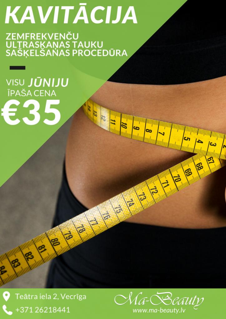 kavitācija svara samazināšanas procedūra ar atlaidi jūnijā