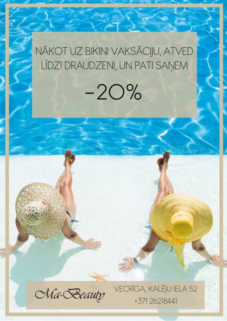 bikini vaksācija ar 20% atlaidi